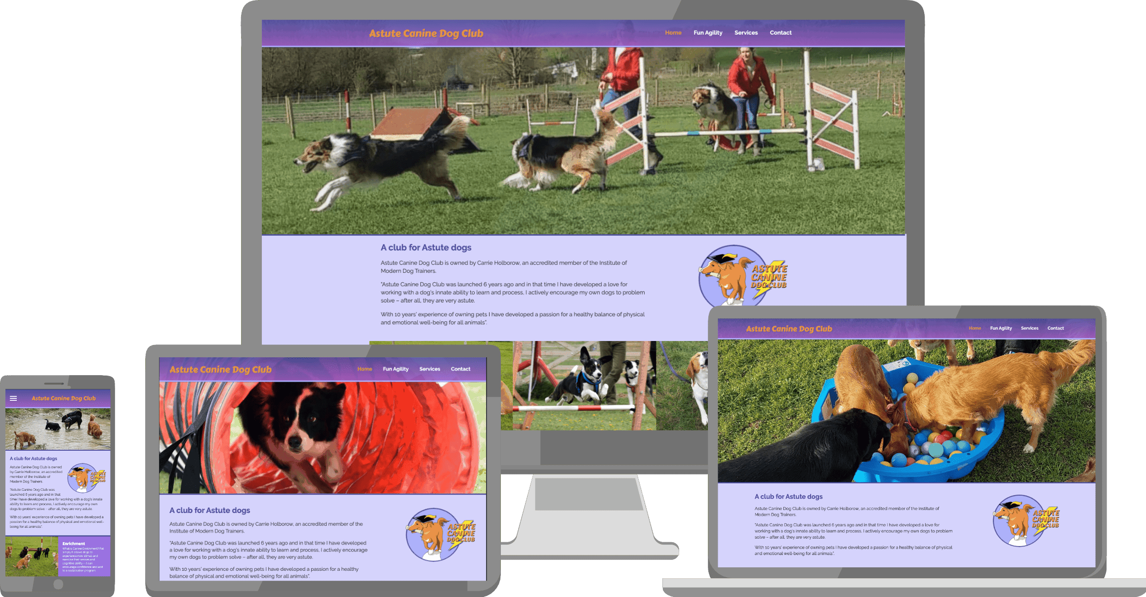 Astute canine Dog Club's website displayed on a variety of devices