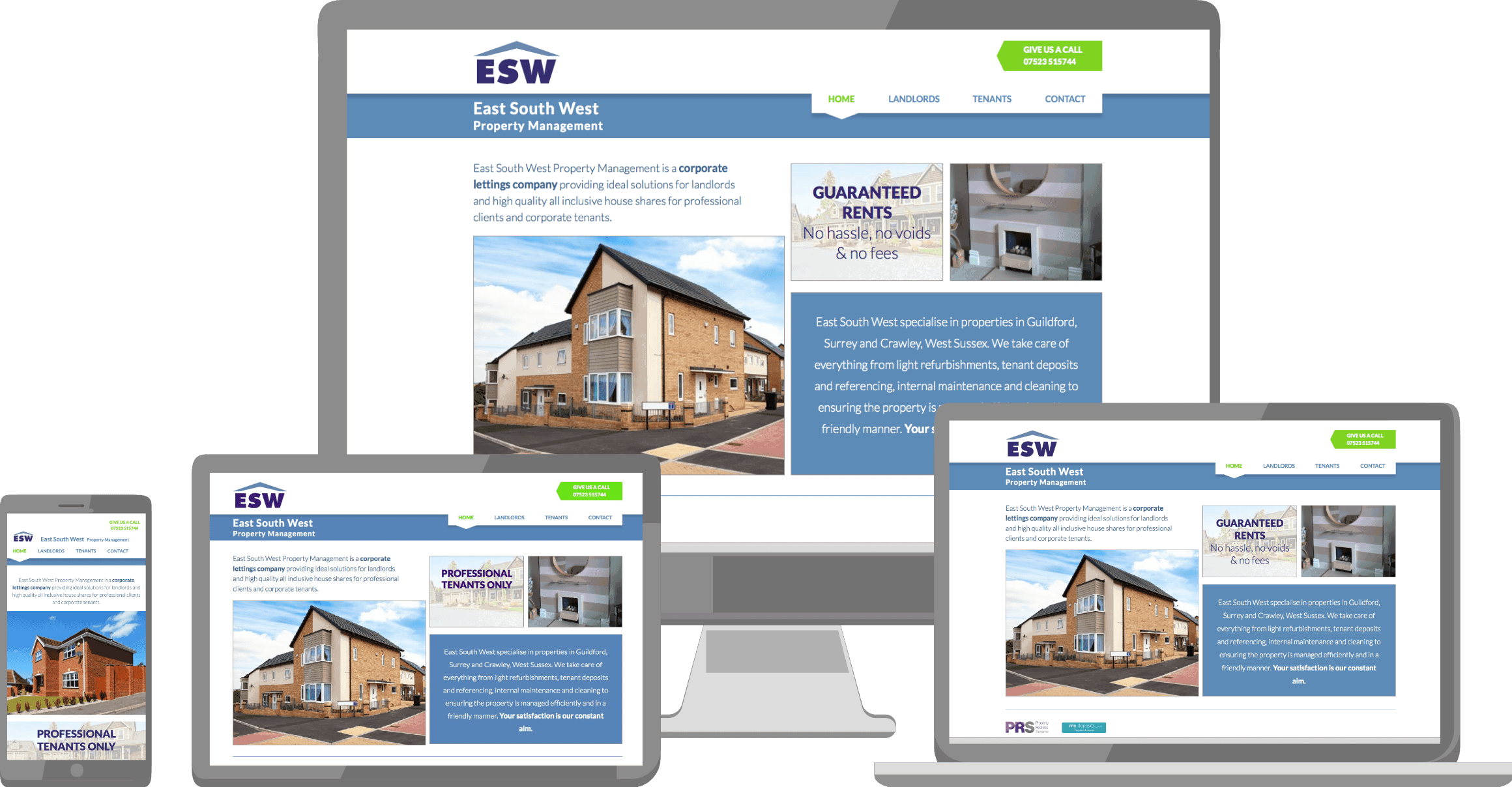 Image of East South West Property Management website design on a variety of devices