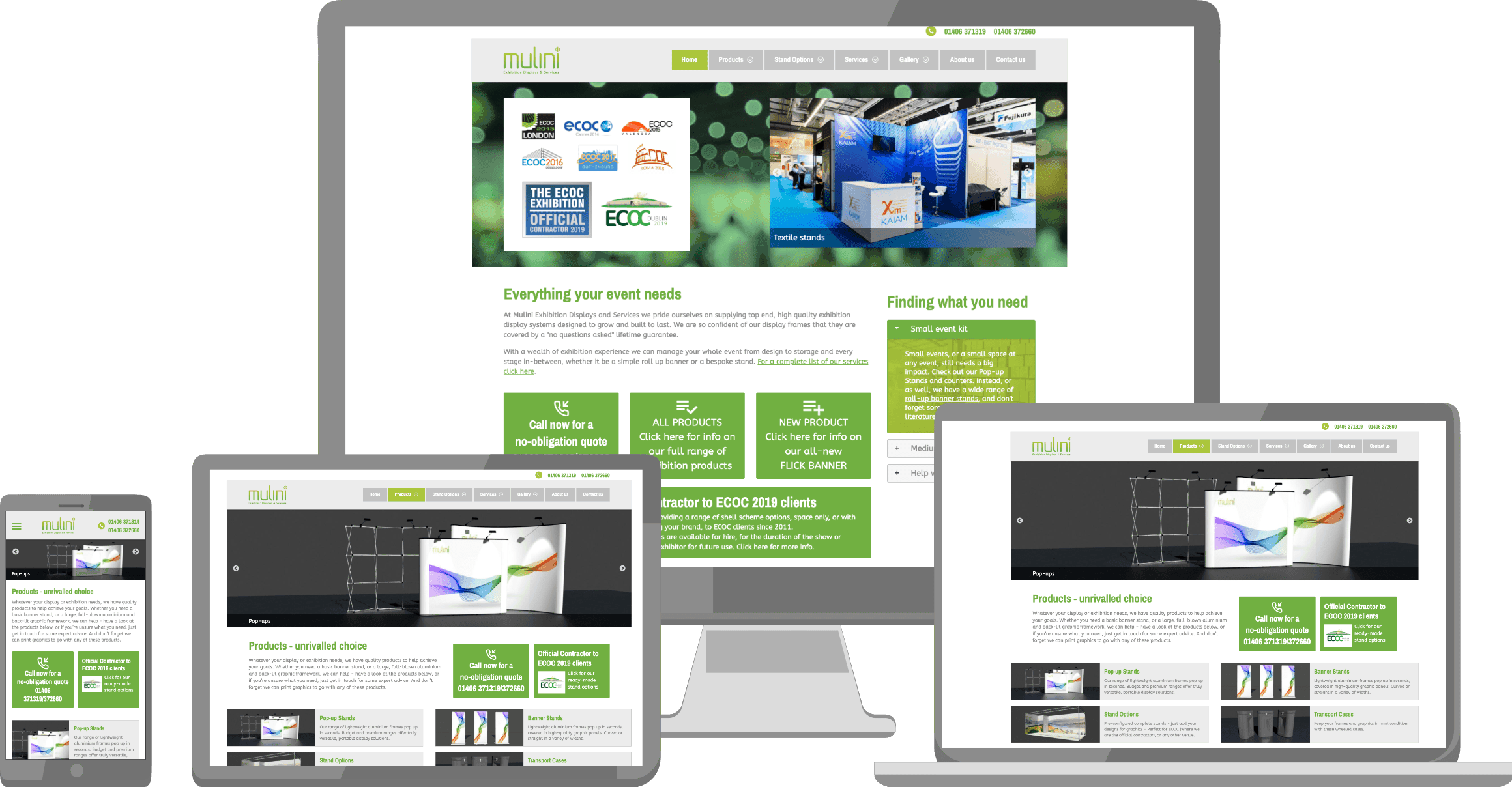 Mulini Exhibitions website displayed on a variety of devices