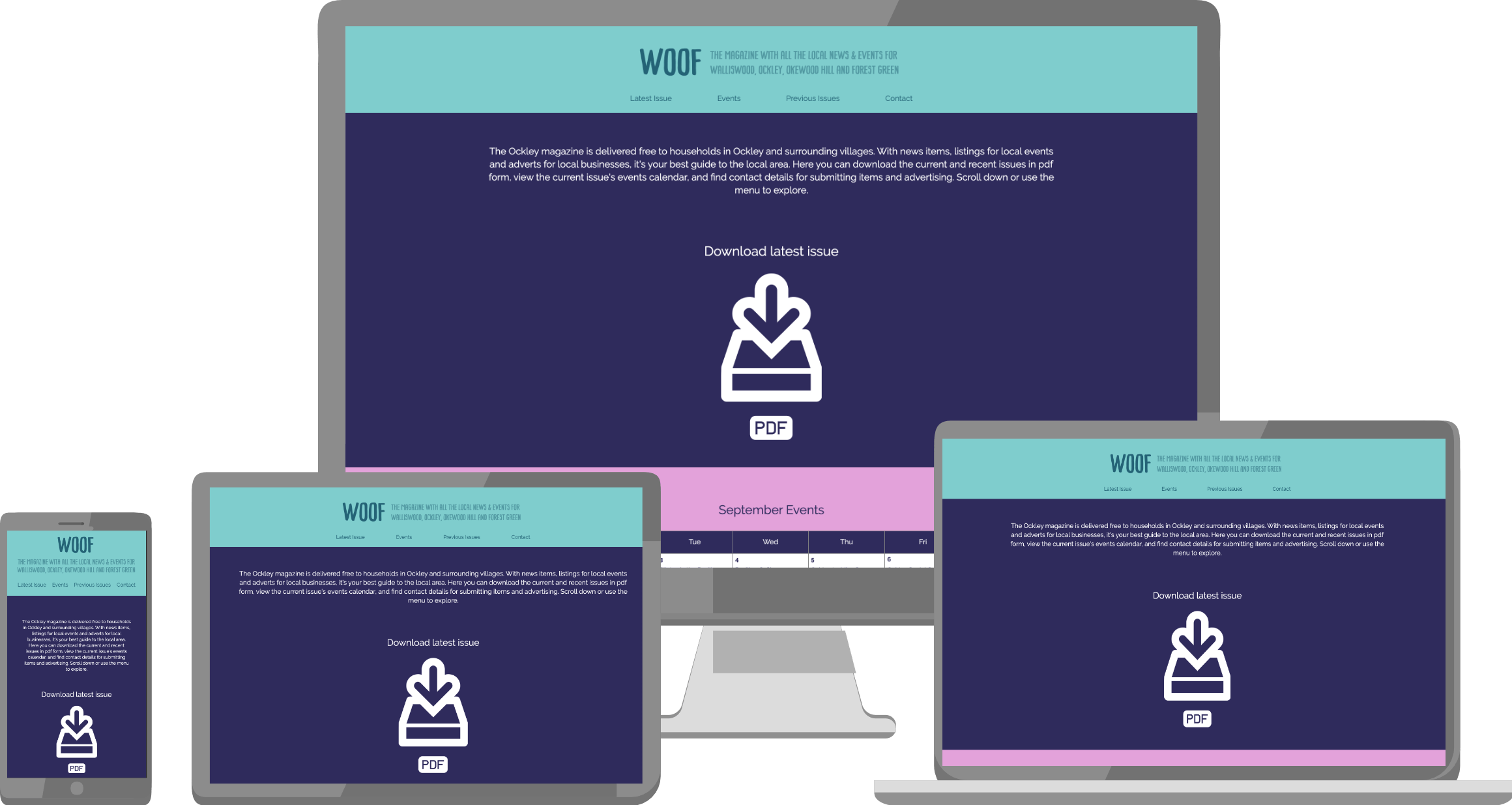 Woof website on a variety of devices